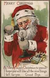 Merry Christmas-Santa talking on phone.