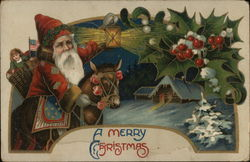 A Merry Christmas- Santa on Donkey with Holly and Country Home
