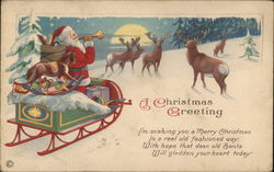 A Christmas Greeting. Santa with his sleigh and toys blows a horn. 5 Deer pay attention.