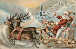A Merry Christmas-Santa in sled pulled by reindeer