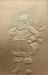 A Merry Christmas - Embossed Santa holding a tree, swords, and instruments