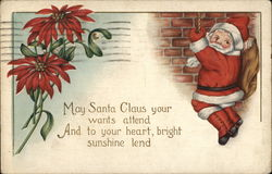 Santa Coming Down Chimney on Rope and Poinsettia