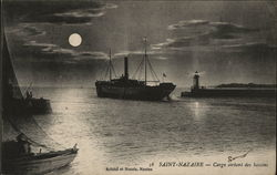 Ships in a Harbor under a full moon