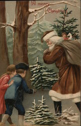 Two children walking outdoor and Santa with a sack of gifts