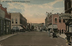 Scene on Center Street Postcard