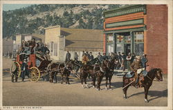 Off for the Mines: Stagecoach loaded with miners.