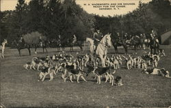 W.A. Wadsworth and His Hounds Ready for the Chase Postcard