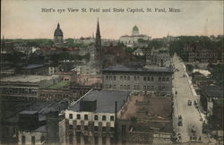 Bird's Eye View, St. Paul and State Capitol