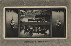 Canoeing on the Charles River Postcard