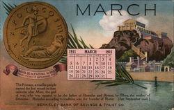 Berkeley Bank of Savings & Trust Co., March 1911 Calendar