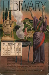 Continental Building & Loan Association, February 1911 Calendar