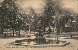 Fountain and Band Stand, Davis Park Postcard