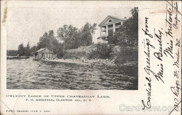 Owlyout Lodge on Upper Chateaugay Lake, P.O.Clinton Co. Merrill New York