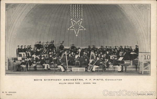 Boys Symphony Orchestra, F. F. Pinto Conductor, Willow Grove Park, Season, 1904