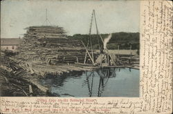 Piling Logs on the Kennebec River
