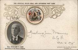 State Seal and Governor of Maine William T. Cobb Postcard