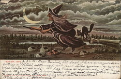 Witch Flying Through Skies Over Salem, 1692