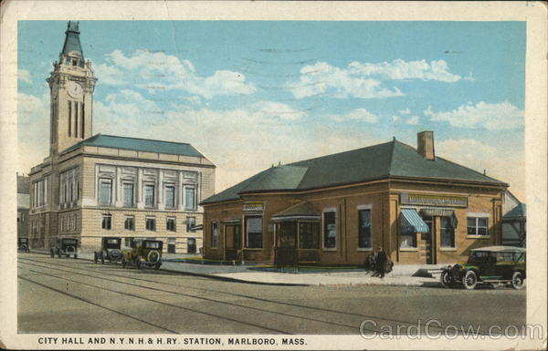 City Hall and N.Y.N.H. & H. RY. Station Marlboro Massachusetts