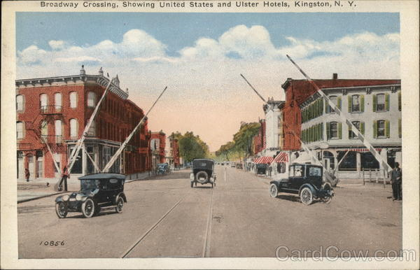 Broadway Crossing, Showing United States and Ulster Hotels Kingston New York