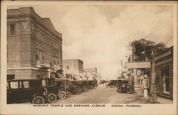 Masonic Temple and Brevard Avenue Postcard