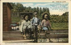 "Three Black Children on Fence ""Three of a Kind"""