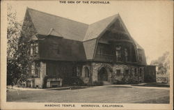 Masonic Temple, the Gem of the Foothills Postcard