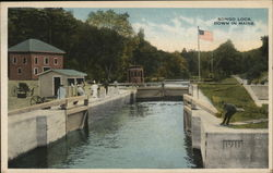 Songo Lock, Down in Maine Postcard