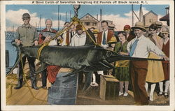A Great Catch of Swordfish Weighing 612 Pounds