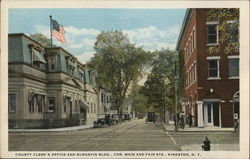 County Clerk's Office and Burgevin Bldg., Cor. Main and Fair Sts. Postcard