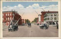 Broadway Crossing, Showing United States and Ulster Hotels Postcard