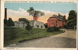Trolley Station and Exchange, Fire Station and Power House, St. Lawrence State Hospital Postcard