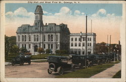 City Hall and West First St. Postcard