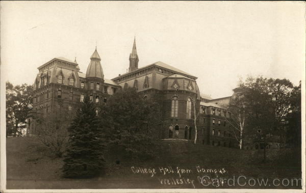 College Hall from Campus, Wellesley College Massachusetts