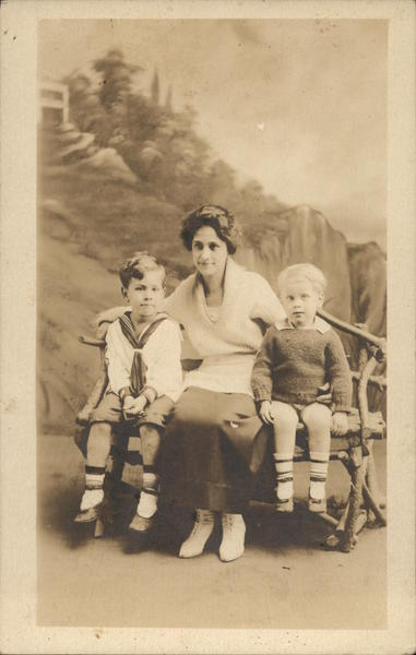 1919 Portrait of Woman and Two Boys - Roton Point Norwalk Connecticut
