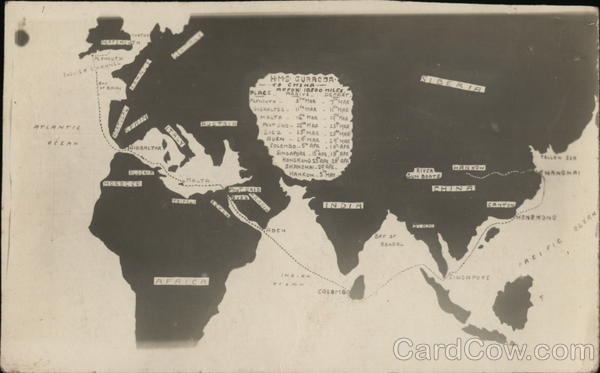 Map of HMS Curacoa's Trip to China Boats, Ships