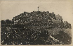 Hundreds of People on Cross-Topped Mountain - Religious Service