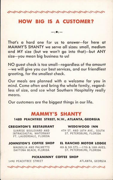 How Big is a Customer? - Mammy's Shanty Florida