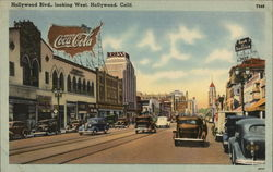 Hollywood Blvd., Looking West Postcard