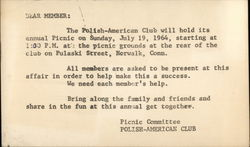 Correspondence Card for Polish American Club Picnic Committee