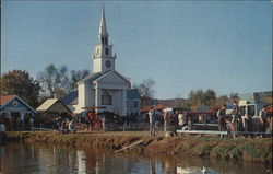 Early American Church in New England Village