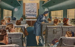 Comfortable seating for every passenger regardless of stature is assured in the new Chessie coaches. Postcard