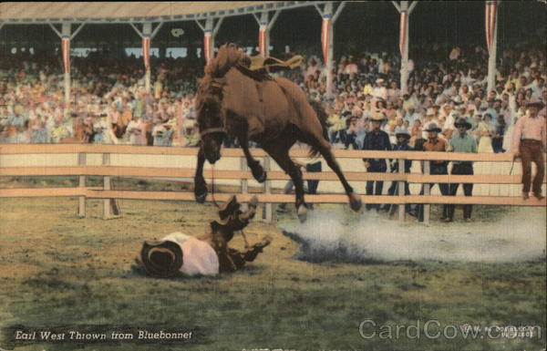 Earl West Thrown from Bluebonnet, Livingston Roundup Montana