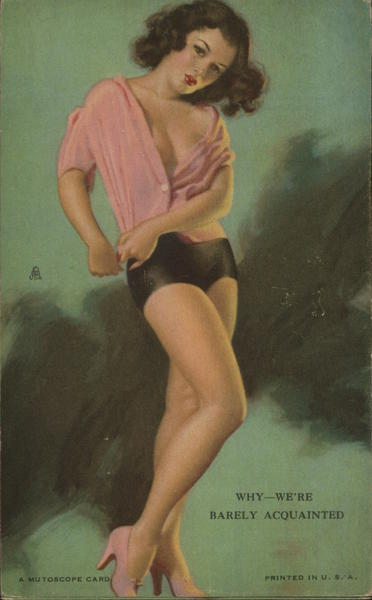 Pinup Girl in Pink Shirt Swimsuits & Pinup