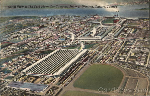 Aerial View of Ford Motor Car Company Factory Windsor Canada