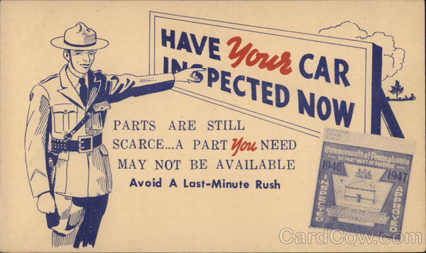 Have your car inspected now Pennsylvania