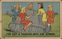 Soldier in Tank Surrounded by Women