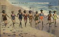 Romping on the sunny shore - greetings from Ideal Beach, NJ