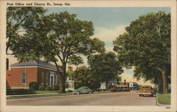 Post Office and Cherry St. Postcard