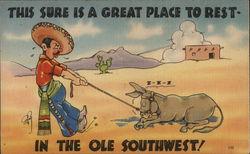Southwestern Cowboy Pulling Sleeping Donkey