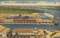 Bird's Eye View of Entrance to Port Everglades Postcard